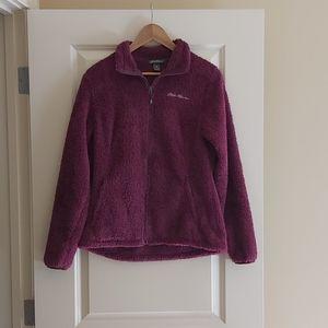 Eddie Bauer Women's Fleece/Fuzzy Jacket-Mulberry S